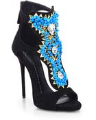 Giuseppe Zanotti Embellished Suede Sandals - Lyst