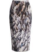 Amanda Wakeley Tukiko Feather-Printed Pencil Skirt - Lyst