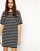Asos Stripe Tee Shirt Dress - Lyst