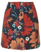Topshop Button Through Floral Print Skirt - Lyst