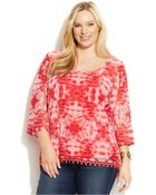 Inc International Concepts Plus Size Tie-Dye Crochet-Trim Top - Lyst