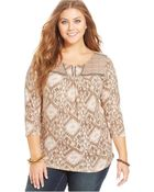 Lucky Brand Jeans Lucky Brand Plus Size Printed Beaded Top - Lyst