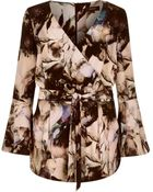 River Island Grey Floral Print Bell Sleeve Playsuit - Lyst