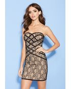 Forever 21 Lacy Caged Bodycon Dress - Lyst