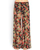 Forever 21 Rose Print Wide-Leg Pants - Lyst
