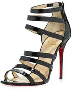 Christian Louboutin Mariniere Red Sole Patent Cage Bootie Black - Lyst