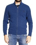 Fred Perry Sweater Super Soft Shetland Zipped Cardigan With Shawl Collar - Lyst