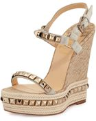 Christian Louboutin Cataclou Python-Embossed Cork Wedge - Lyst