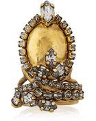 Erickson Beamon Hung Up Gold-Plated Swarovski Crystal Ring - Lyst