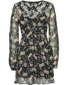 Topshop Floral Lace Sleeve Dress - Lyst