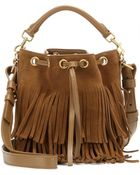 Saint Laurent Fringe Embellished Suede Bucket Bag - Lyst