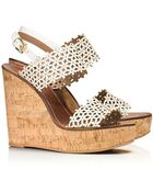 Tory Burch Floral Perforated Wedge Sandal - Lyst