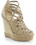Christian Louboutin Tramontagne Leather Cork Wedge Sandals - Lyst