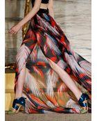 Matthew Williamson Palm Chiffon Embroidered Halter Gown - Lyst