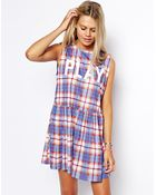 Asos Smock Dress With Check Play Print - Lyst