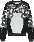 Roberto Cavalli Lace-Intarsia Fleece And Knitted Sweater - Lyst