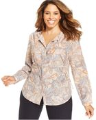 Jones New York Signature Plus Size Paisley-Print Blouse - Lyst