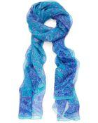 Liberty London Aquamarine Morris Flower Silk Chiffon Scarf - Lyst