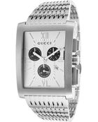 Gucci Men'S G-Metro 8600 Chrono Stainless Steel Silver-Tone Textured Dial - Lyst