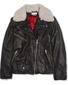 Etoile Isabel Marant Benny Shearling-Trimmed Leather Biker Jacket - Lyst
