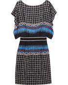 Alberta Ferretti Printed Silk And Crepe De Chine Dress - Lyst