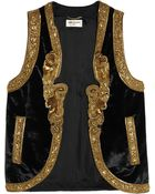 Saint Laurent Embellished Velvet Vest - Lyst