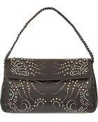 Roberto Cavalli Studded Lambskin Over The Shoulder Handbag - Lyst