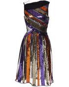 Rodarte Sequin Striped Chiffon And Tulle Sleeveless Dress - Lyst