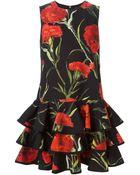 Dolce & Gabbana Carnations Print Ruffled Dress - Lyst