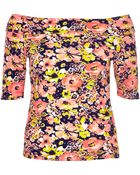 River Island Pink Floral Print Bardot Top - Lyst