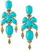 Oscar de la Renta Oval Cabochon Clip-On Earrings - Lyst