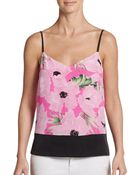 French Connection Floral Print Silk-Paneled Tank Top - Lyst