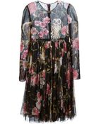 Dolce & Gabbana Enchanted Forest Crepe Dress - Lyst