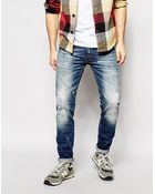 Replay Jeans Anbass Slim Fit Vintage Distress Repair Wash - Lyst