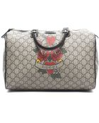 Gucci Preowned Beige Monogram Tattoo Hearts and Roses Medium Boston Joy Bag - Lyst