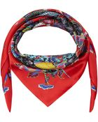 Liberty London Red Paradise Garden Silk Scarf - Lyst