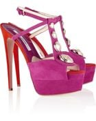 Brian Atwood Clizia Studded Suede Sandals - Lyst