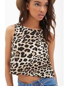 Forever 21 Leopard Print Cutout Top - Lyst