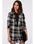 Missguided Annia Monochrome Check Textured Boyfriend Blazer Black - Lyst