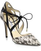 Jimmy Choo Lapris Embossed & Smooth Leather Lace-Up Pumps - Lyst