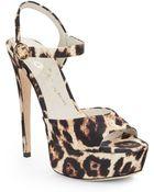 Alice + Olivia Lena Leopard-Print Canvas Platform Sandals - Lyst
