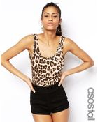 Asos Tall Rib Body With Leopard Print - Lyst