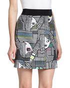 Milly Les Femmes Printed Jacquard Mini Skirt - Lyst