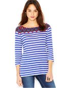 Lucky Brand Jeans Lucky Brand Mixed-Print Top - Lyst