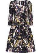 Oscar de la Renta Tropical Print Flared Dress - Lyst