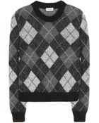 Saint Laurent Mohair-Blend Argyle Sweater - Lyst