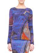 Akris Punto Graffiti-Print Silk Blouse - Lyst