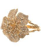 Alexander McQueen Crystal-Embellished Flower Bracelet - Lyst