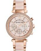 Michael Kors Ladies Parker Rose Gold-Tone Chronograph Glitz Watch - Lyst