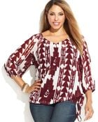 Inc International Concepts Plus Size Side-Tie Printed Peasant Top - Lyst